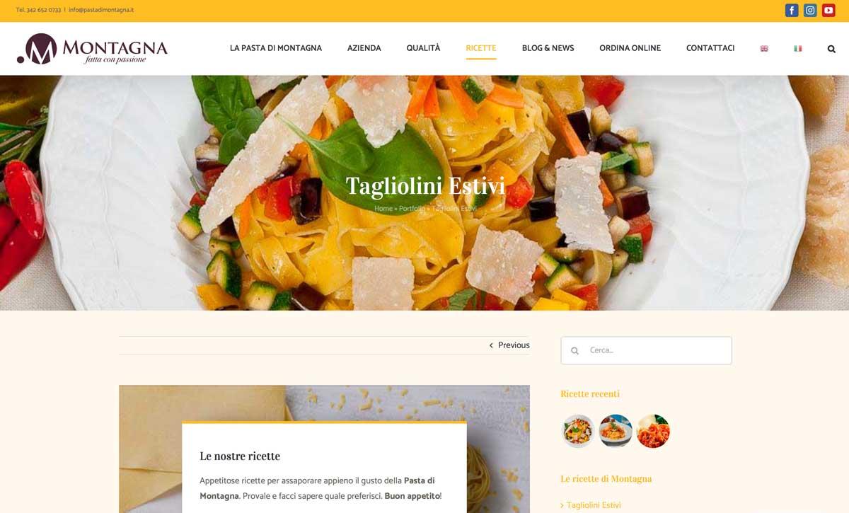 sito web schermata ricetta